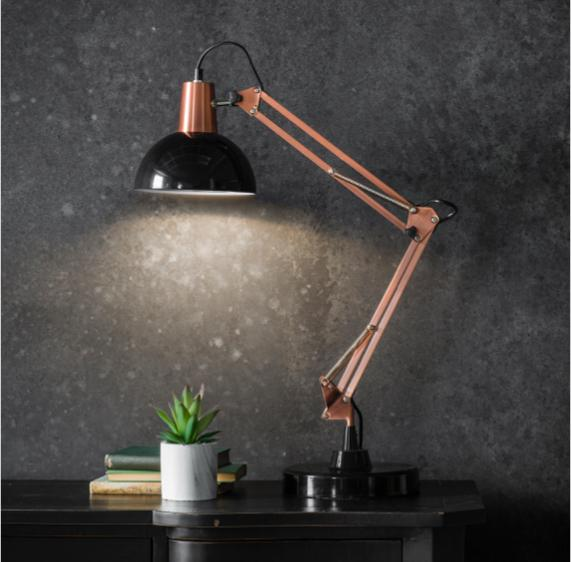 Pink and grey bedroom – black and copper task lamp