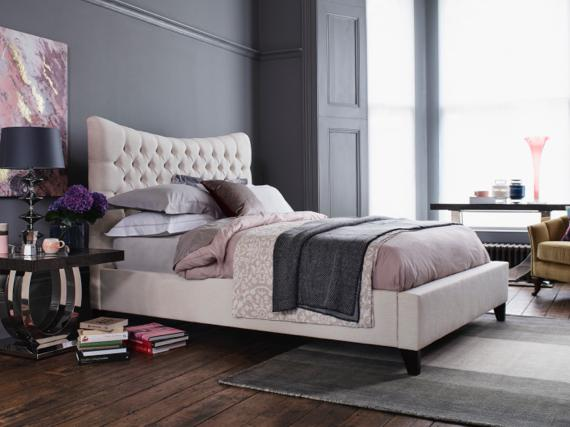 Pink and grey bedroom – buttoned double bed frame