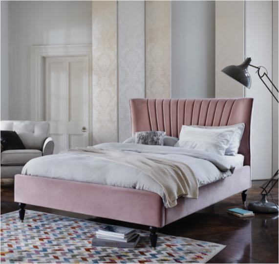 Pink and grey bedroom – pink fluted bed frame