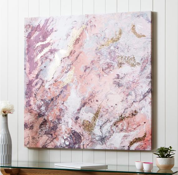 Pink and grey bedroom – abstract wall art