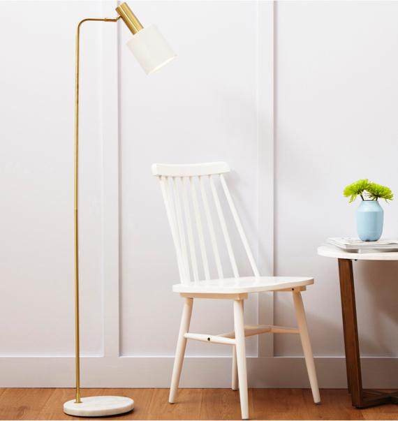 White bedroom ideas – white and gold floor lamp