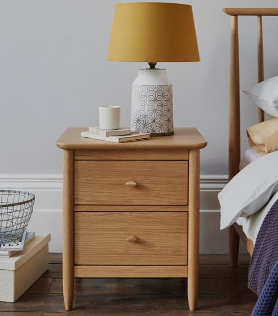White bedroom ideas – Ercol bedside cabinet