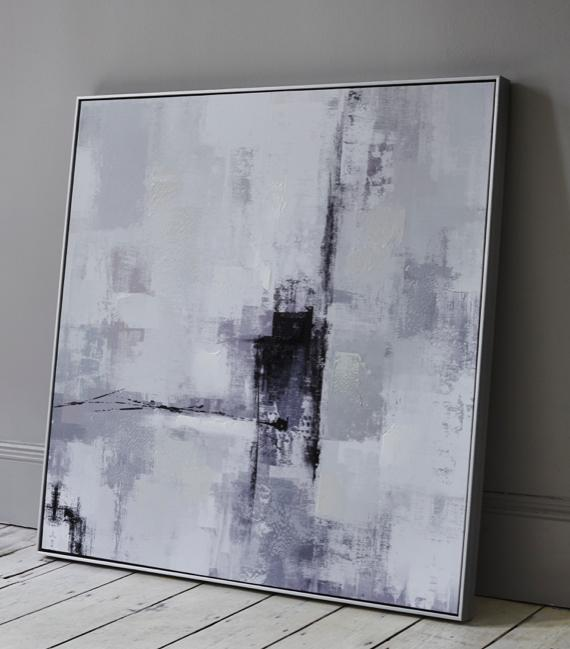 White bedroom– modern abstract canvas wall art