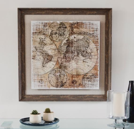 Bedroom wall art ideas – framed vintage map