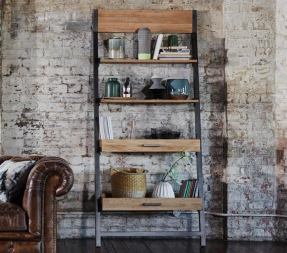 Bedroom shelf decorating ideas – ladder shelving