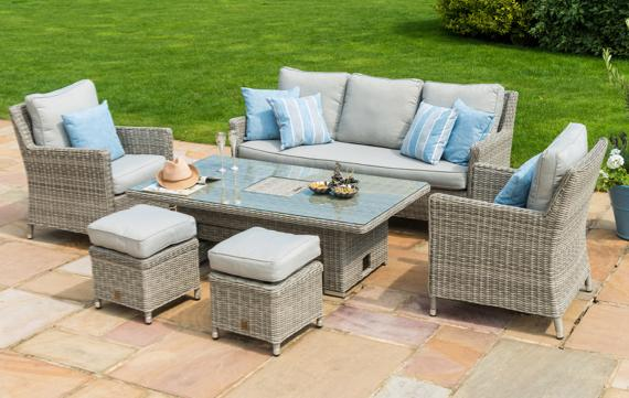 Rattan garden dining set with rising table