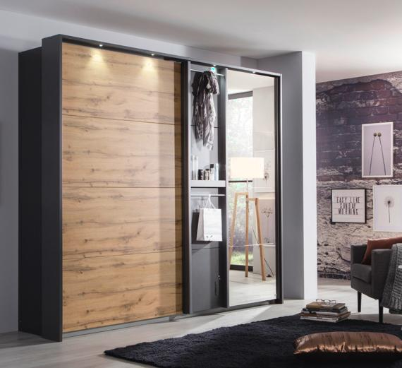 Black bedroom ideas – sliding mirrored wardrobe