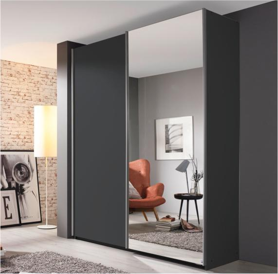 Black bedroom ideas – sliding wardrobe