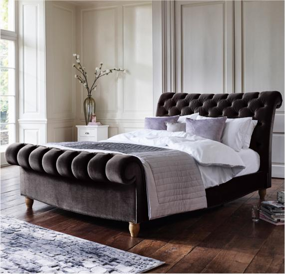Grey and white bedroom – grey fabric bed frame