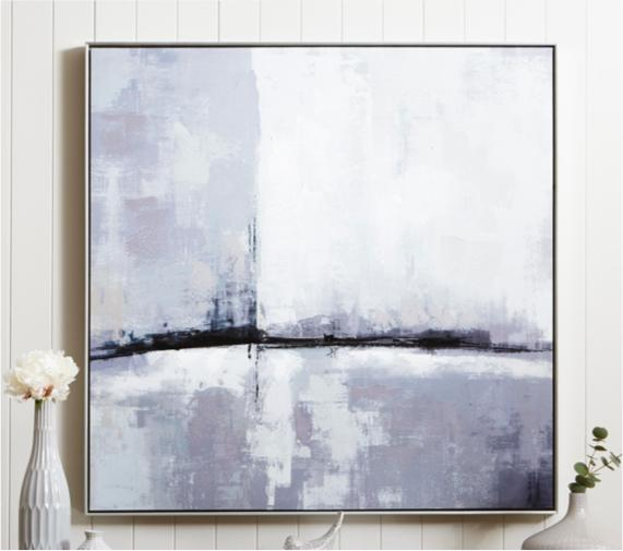 Grey and white bedroom – abstract wall art