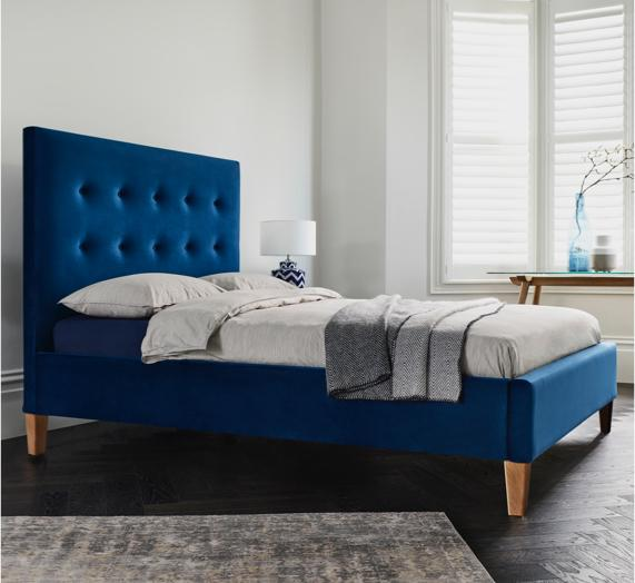 Blue bedroom idea – blue upholstered bed frame