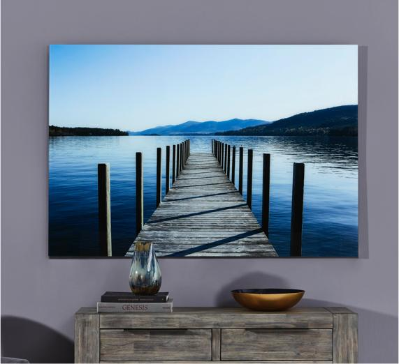 Blue bedroom idea – wall art of jetty