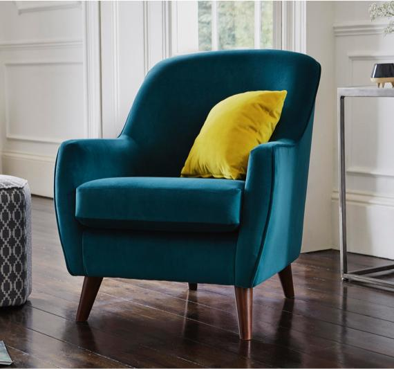 Green interior – fabric accent chair