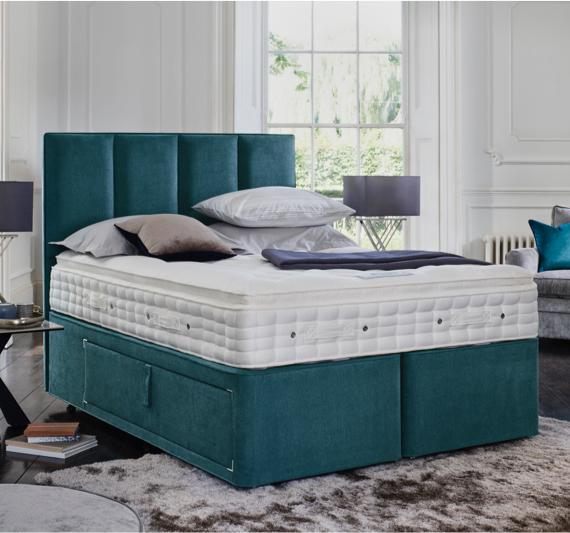 Green home décor – green upholstered divan bed