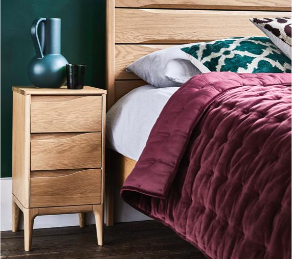 Purple bedroom ideas – Ercol bedside cabinet