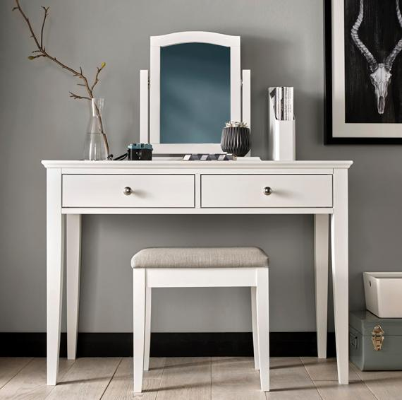 Purple and grey bedroom – white dressing table
