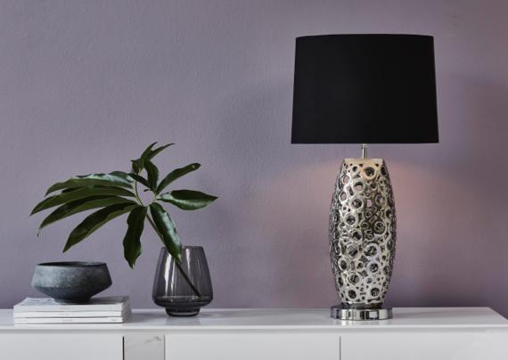 Purple and grey bedroom – black and silver lamp