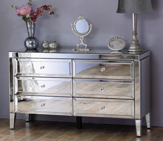 Purple and grey bedroom – mirror chest of drawers