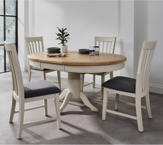 Round white painted and wood dining table