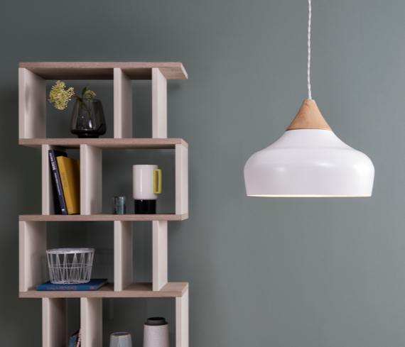 White painted metal and wood modern ceiling light