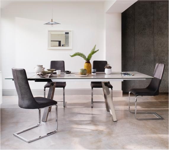 Modern white ceramic and glass topped dining table