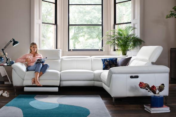 White leather power recliner corner sofa