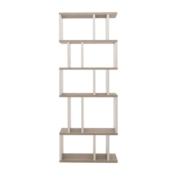 Asymetric modern shelving unit in alcove