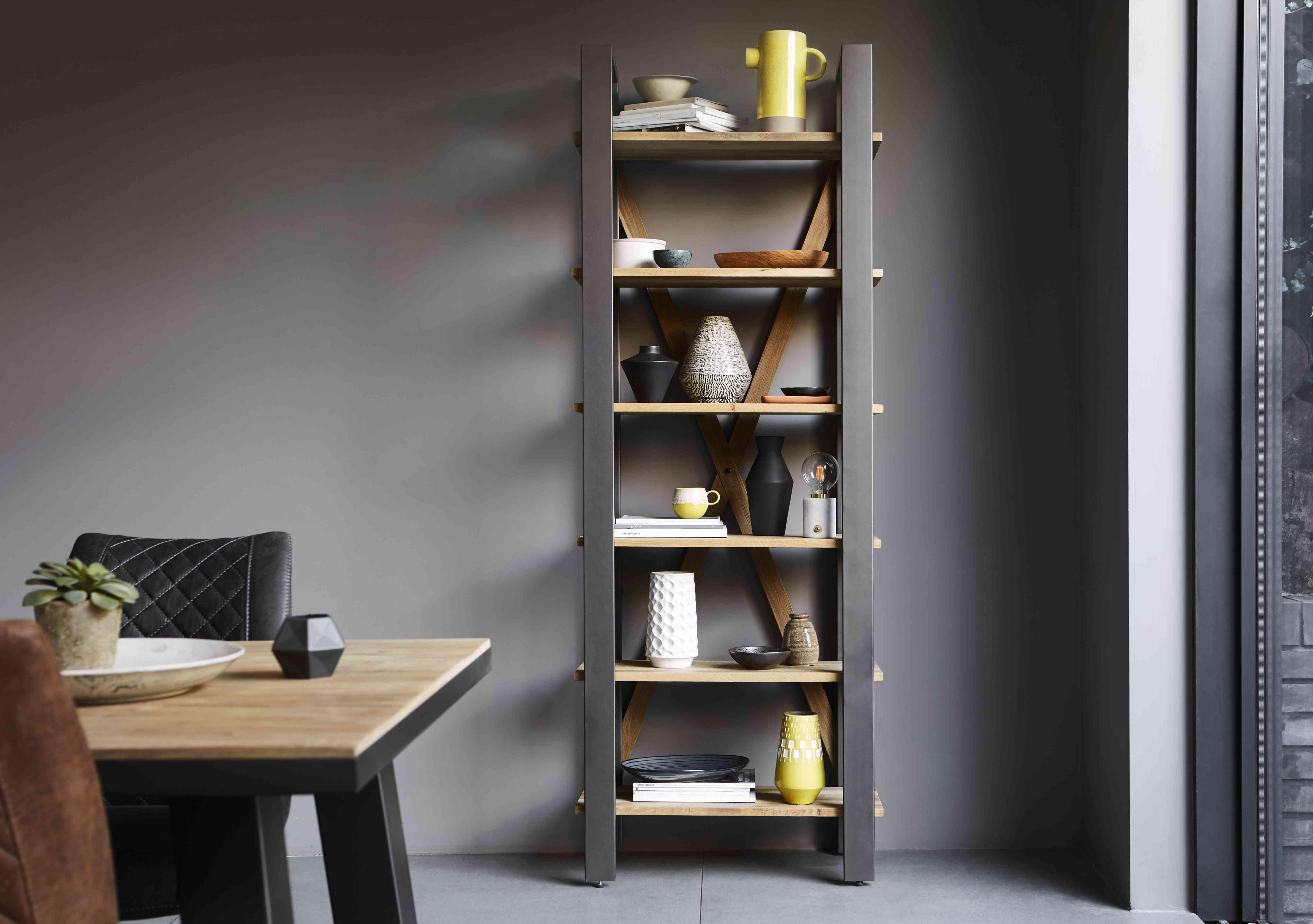 Open metal and wood industrial shelving