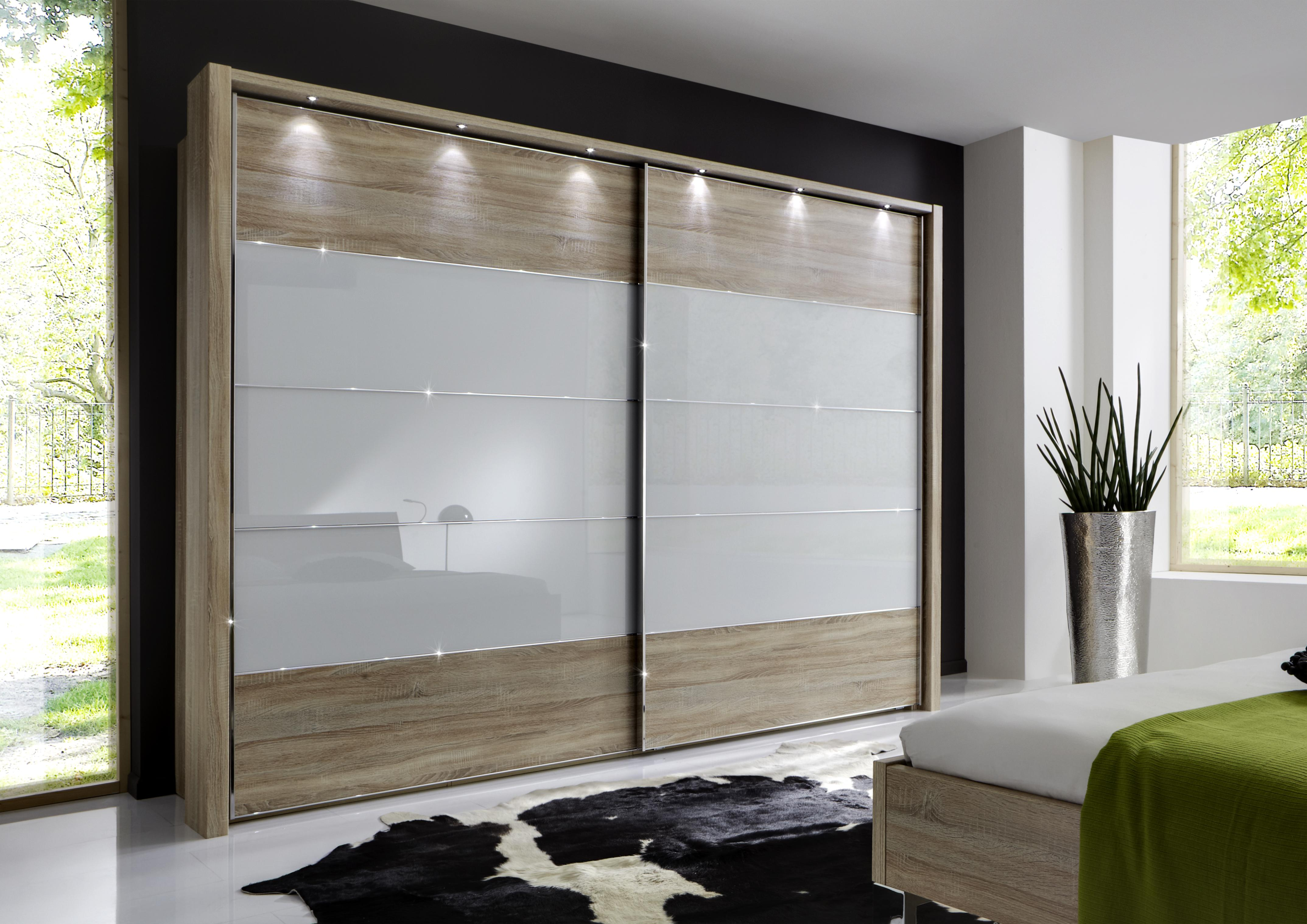 Wooden wardrobe with black and white colour scheme