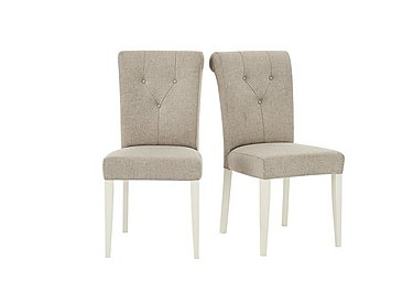 Annecy Pair of Upholstered Fabric Roll Back Dining Chairs in  on Furniture Village