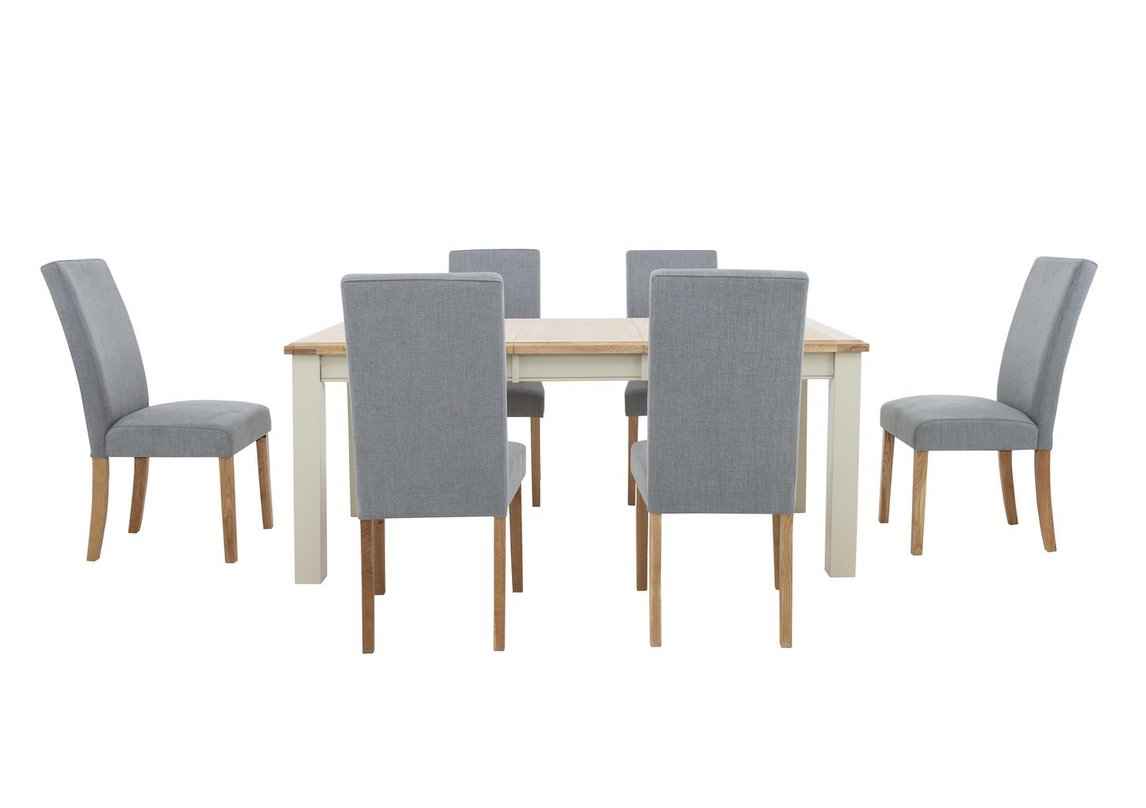 Angeles Rectangular Extending Dining Table And 6 Fabric Dining Chairs In Nickel Furnitureland Furniture Village