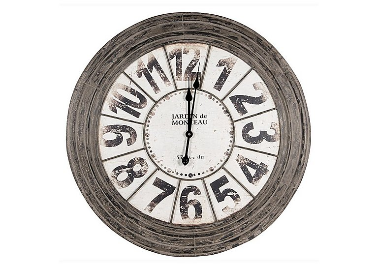 Antique Grey Metal Round Clock in  on Furniture Village