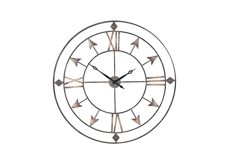 Large Antique Grey & Gold Wall Clock in  on Furniture Village