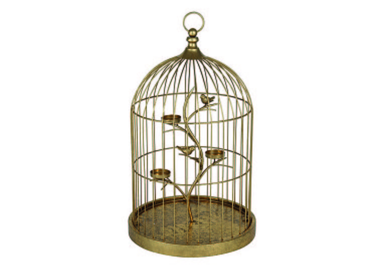 Gold Birdcage Tea Light Holder in  on Furniture Village