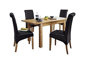 Arlington Extending Table and 4 Roll Back Brown Chairs in  on Furniture Village