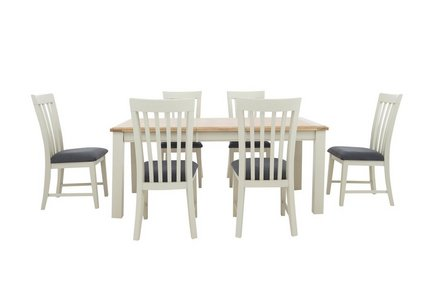 huge selection of 33c39 b5db7 Angeles Rectangular Extending Dining Table and 6 Wooden Dining Chairs