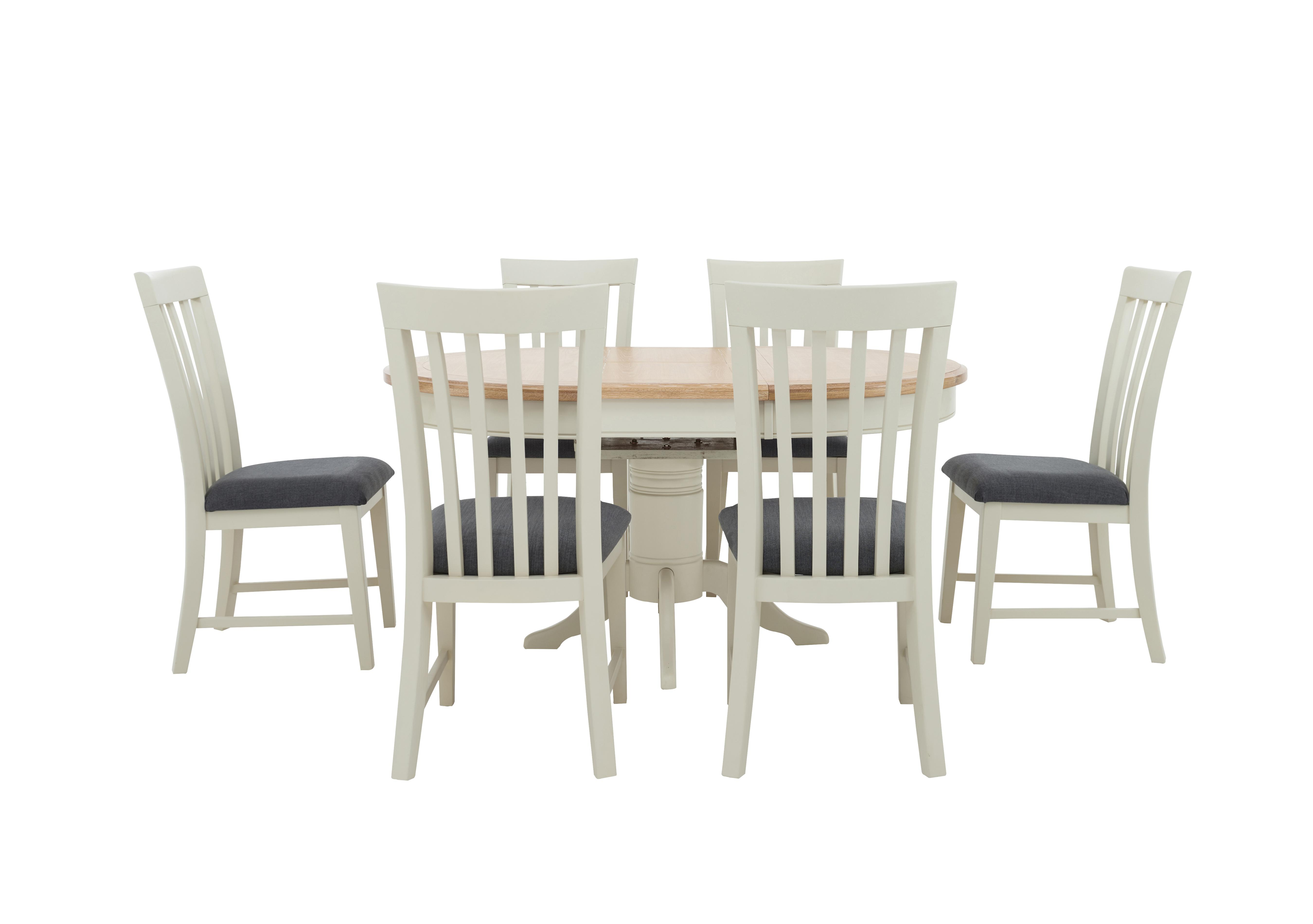 Picture of: Angeles Round Extending Dining Table And 6 Wooden Dining Chairs Furnitureland Furniture Village