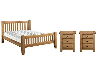 California 5' Bedframe and 2 x 3 Drawer Bedside Tables in  on Furniture Village