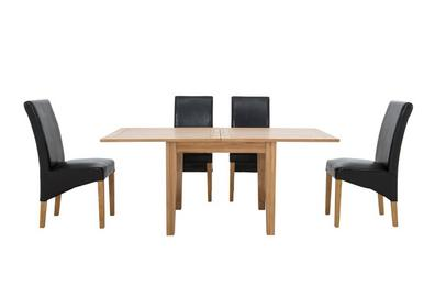 California Flip Top Dining Table And 4 Faux Leather Chairs