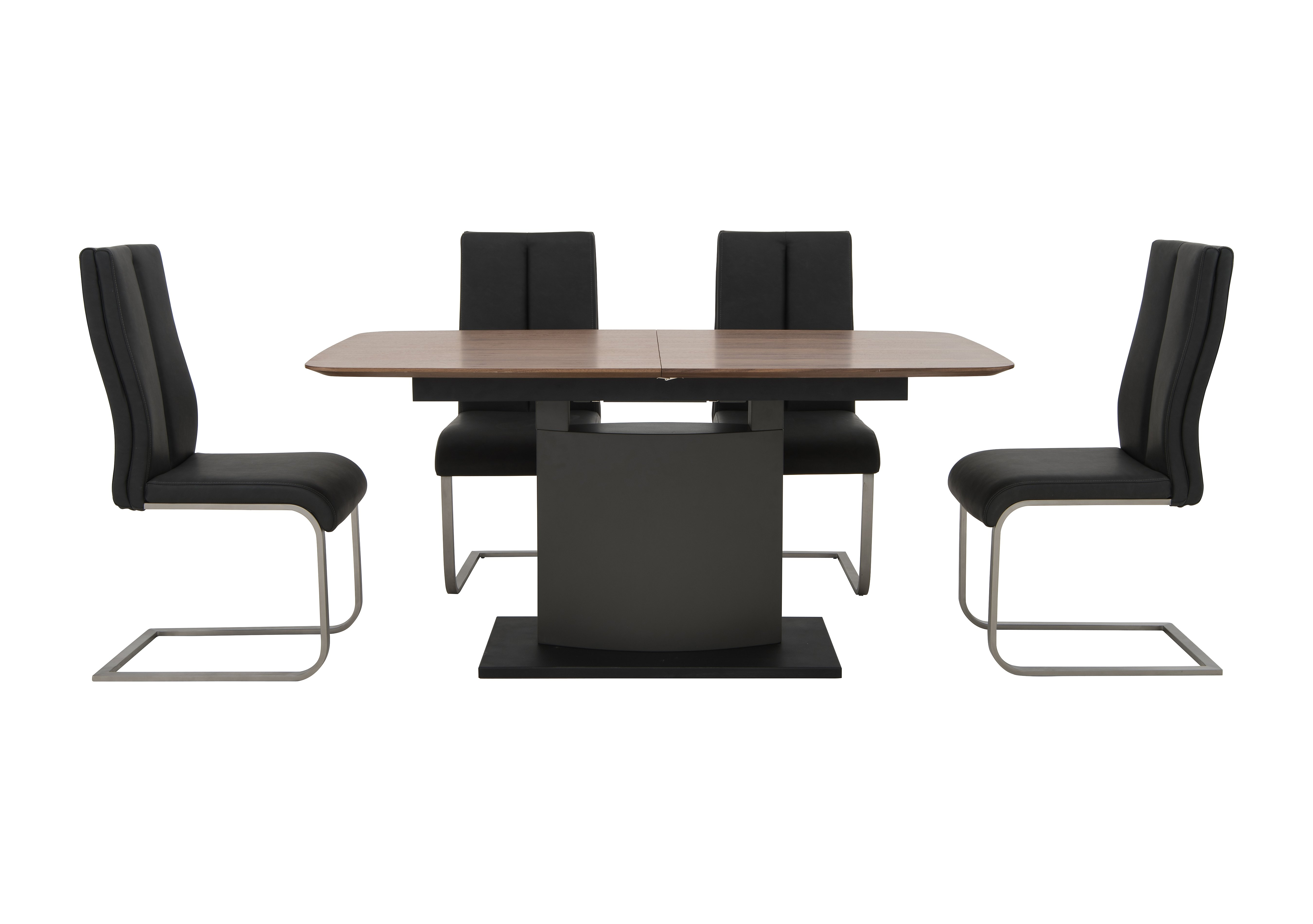 Moda Extending Dining Table and 4 Grey Dining Chairs Furniture