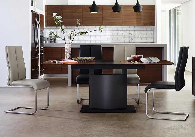 Moda Extending Dining Table And 4 Grey Dining Chairs