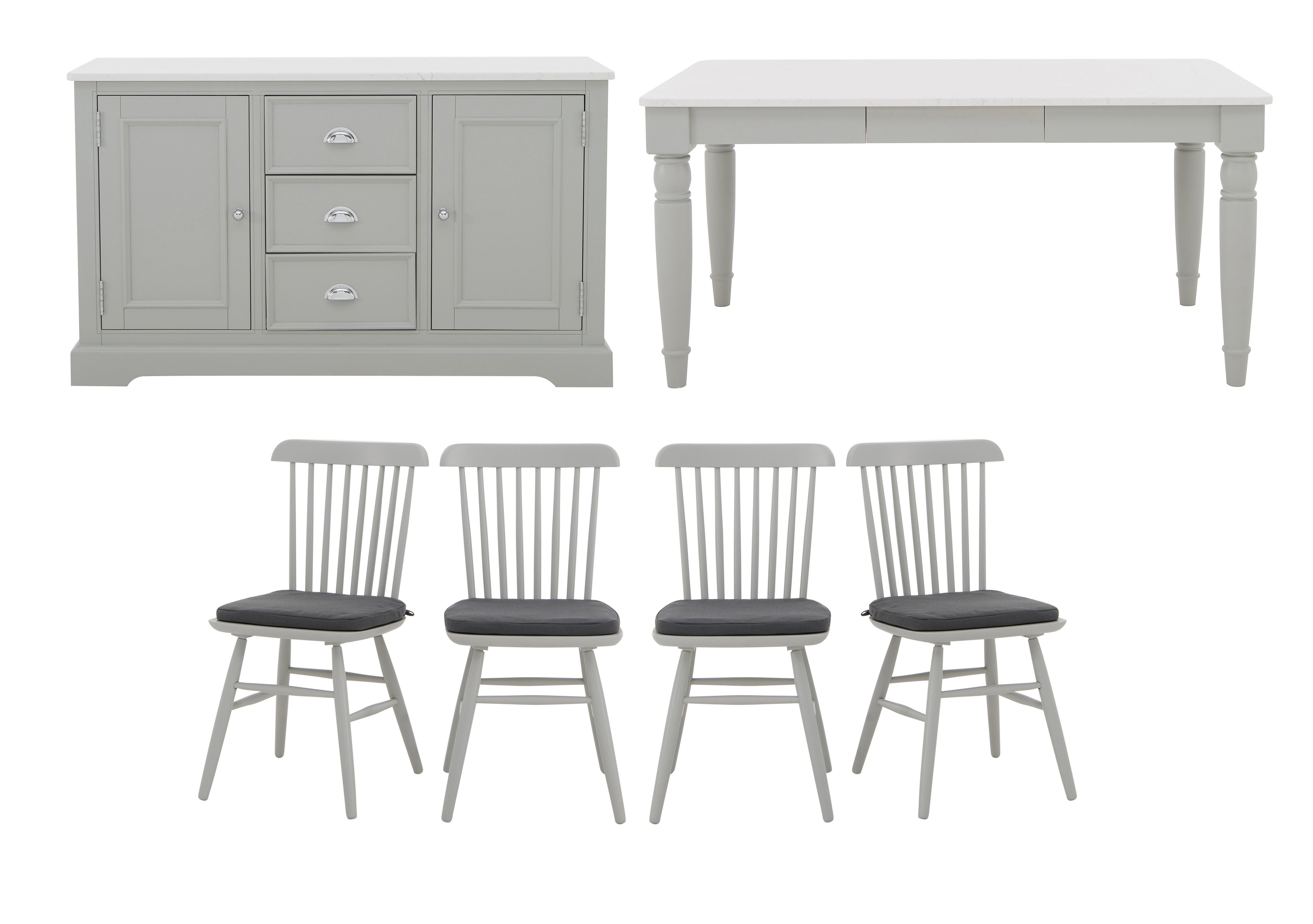 Padstow Dining Table 4 Spindle Chairs and Sideboard Set