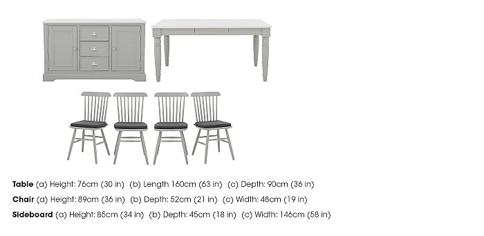 Padstow Dining Table, 4 Spindle Chairs and Large Sideboard Set in  on Furniture Village