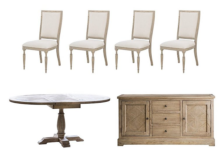 Riviera Round Extending Dining Table, 4 Side Chairs and Sideboard Set in  on Furniture Village