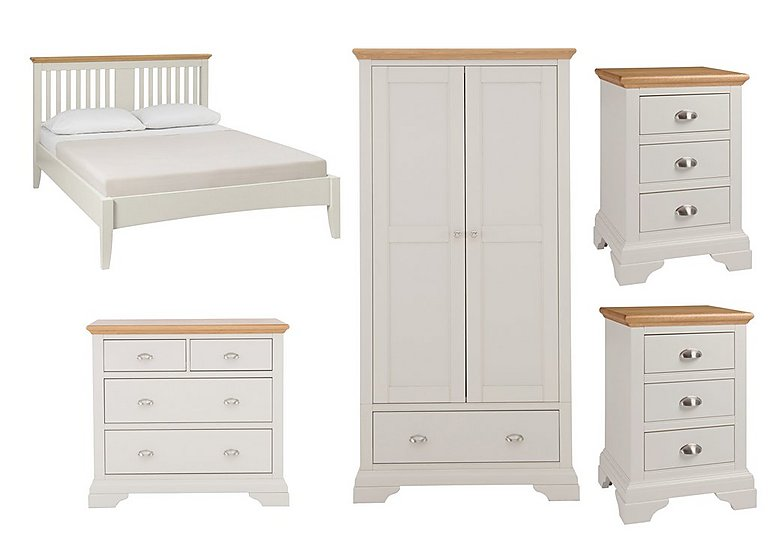 Emily Kingsize Bed Frame with 2 Bedside Chests Wardrobe and 4 Drawer Chest