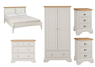 Emily Kingsize Bed Frame with 2 Bedside Chests, Wardrobe and 4 Drawer Chest in  on Furniture Village