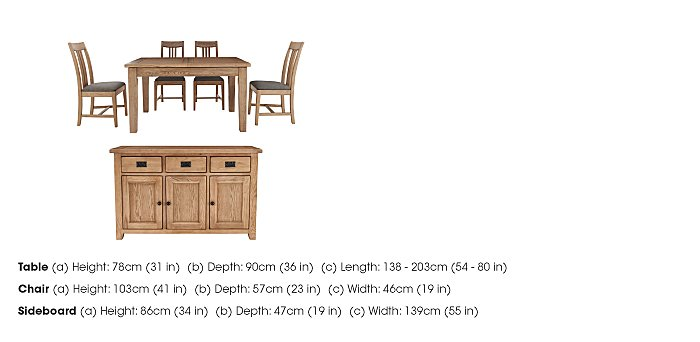 Provence Dining Table and 4 Chairs with Sideboard Set in  on Furniture Village