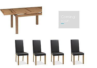 Compton Oak Extending Dining Table with 4 Upholstered Chairs and Sideboard in  on Furniture Village