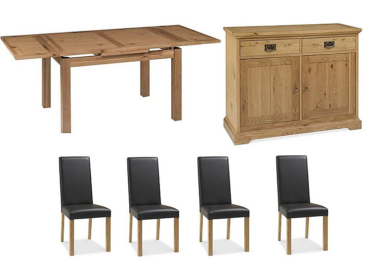 Compton Oak Extending Dining Table With 4 Upholstered Chairs And Sideboard