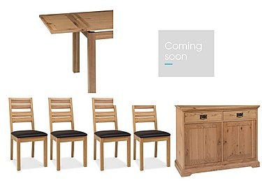 Compton Oak Extending Dining Table with 4 Slatted Chairs and Sideboard in  on Furniture Village